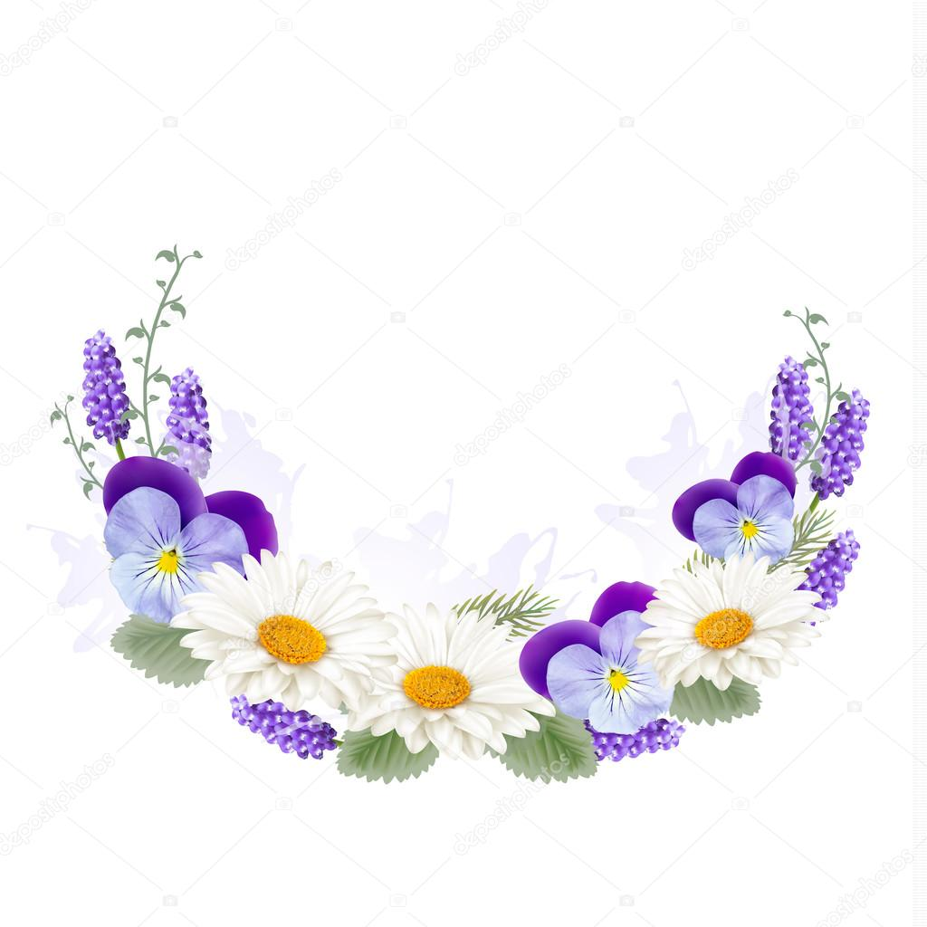 Beautiful Holiday Greeting Card With Flower Decoration. Vector.