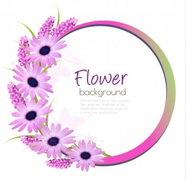 Flower background with beautiful purple flowers. Vector.