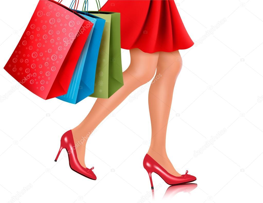 waist down view of shopping woman wearing red high heel shoes an rh depositphotos com Shopper Basket Vector Personal Shopper Clip Art