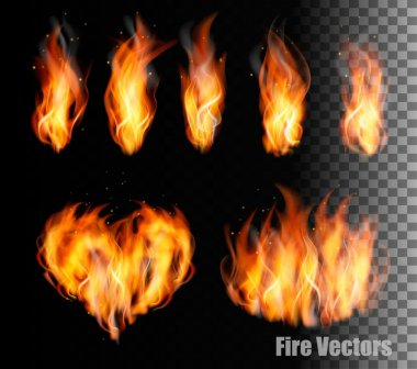 Collection of fire vectors - flames and a heart shape. Vector.