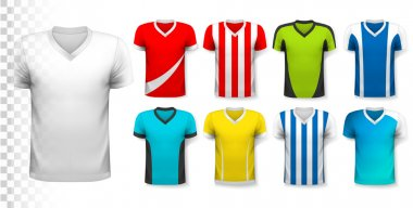 Collection of various soccer jerseys. The T-shirt is transparent