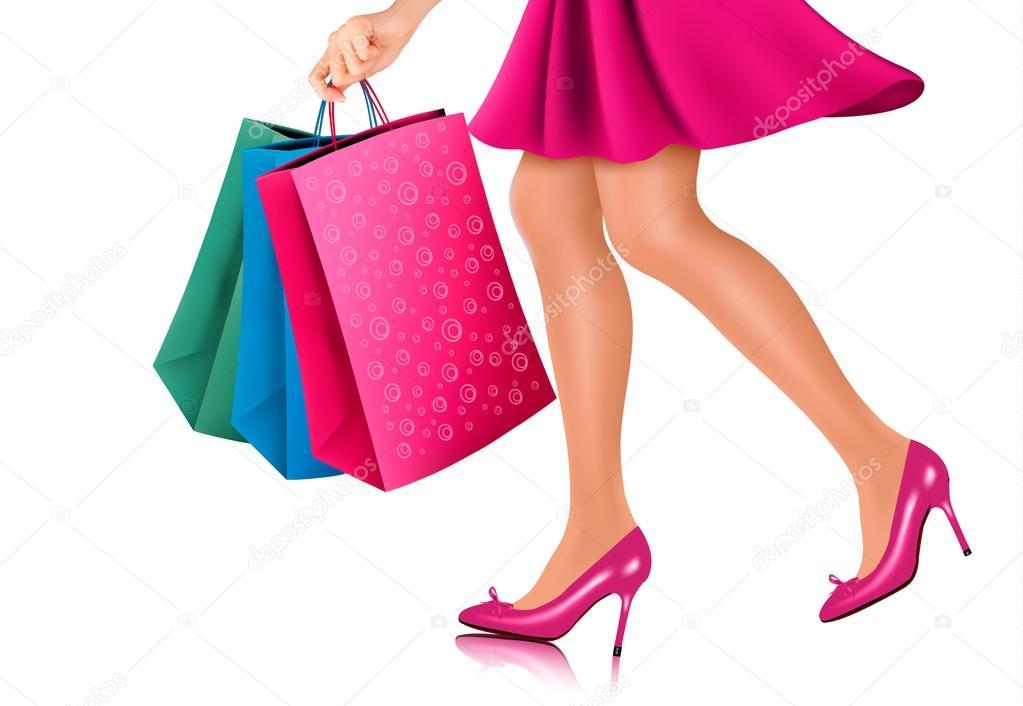 a15e75182 Vista para baixo da cintura de compra mulher usando sapatos vermelhos de  salto alto uma —