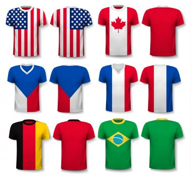 Set of different T-shirts with prints of world flags. Includes a