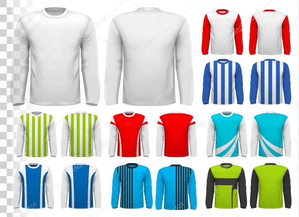 2f290bb096c8 Συλλογή από διάφορα αρσενικά μακρυμάνικα μπλουζάκια. Πρότυπο σχεδίασης —  Διανυσματικό Αρχείο