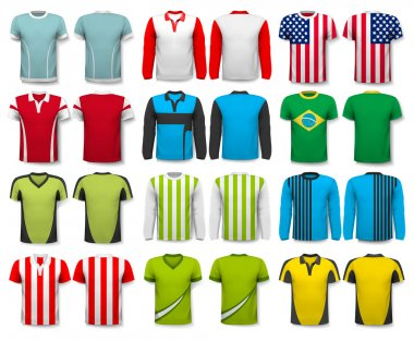 Collection of various shirts. Design template. The t--shirt is t