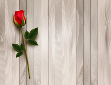 Single red rose on a wooden background. Vector.