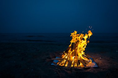 Camp fire in the night