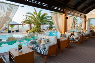 Paralia Katerini, Greece - June 02: Swimming pool of luxury hote
