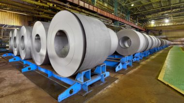 rolls of steel sheet inside of plant, Cold rolled steel coils