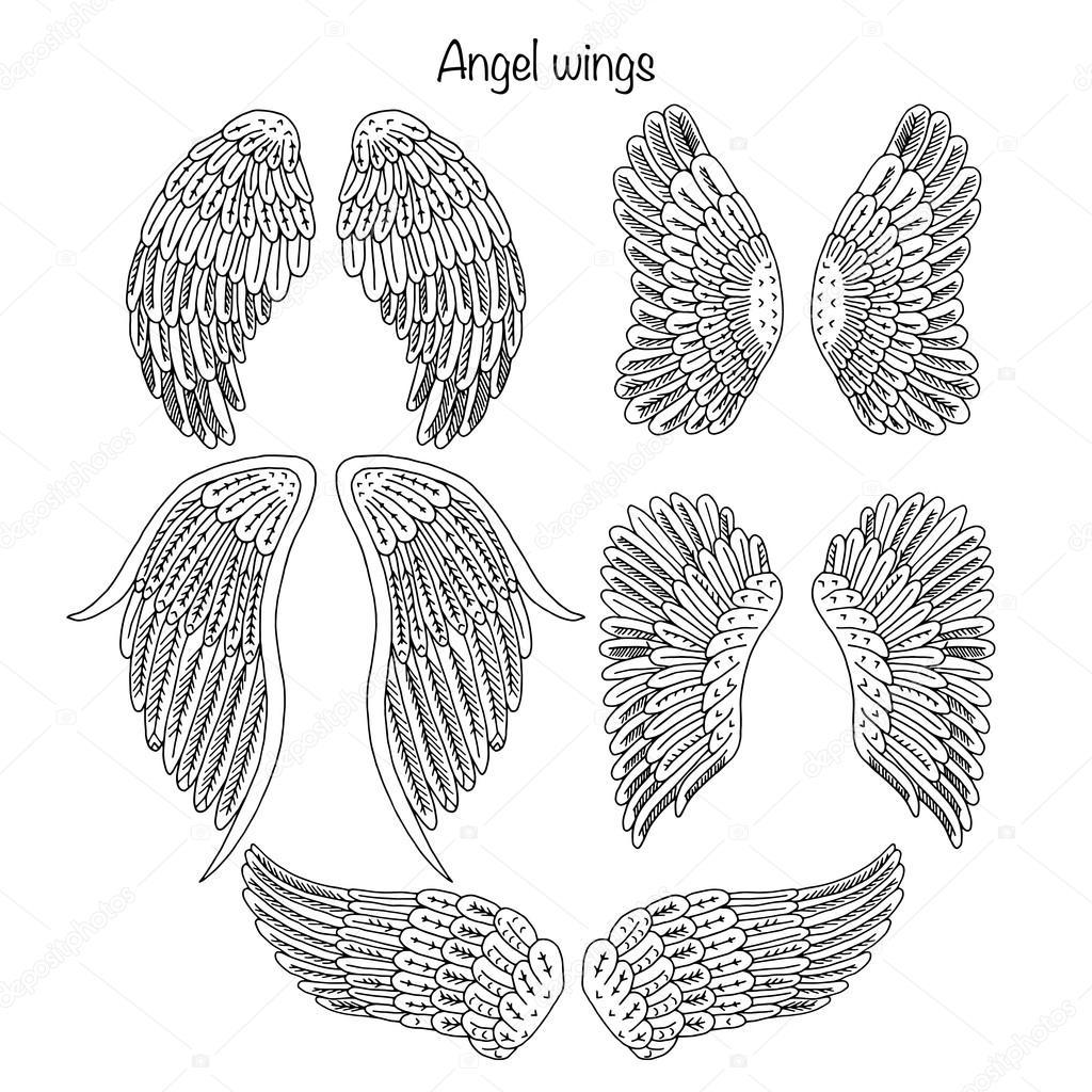 Colección de mano dibujado alas de Ángel — Foto de stock © Smirno ...
