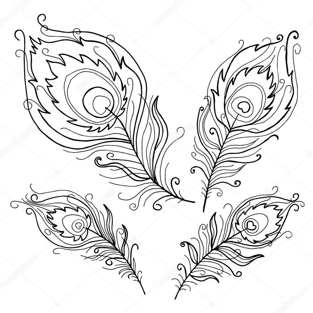 Colección de plumas de pavo real abstracto — Fotos de Stock © Smirno ...