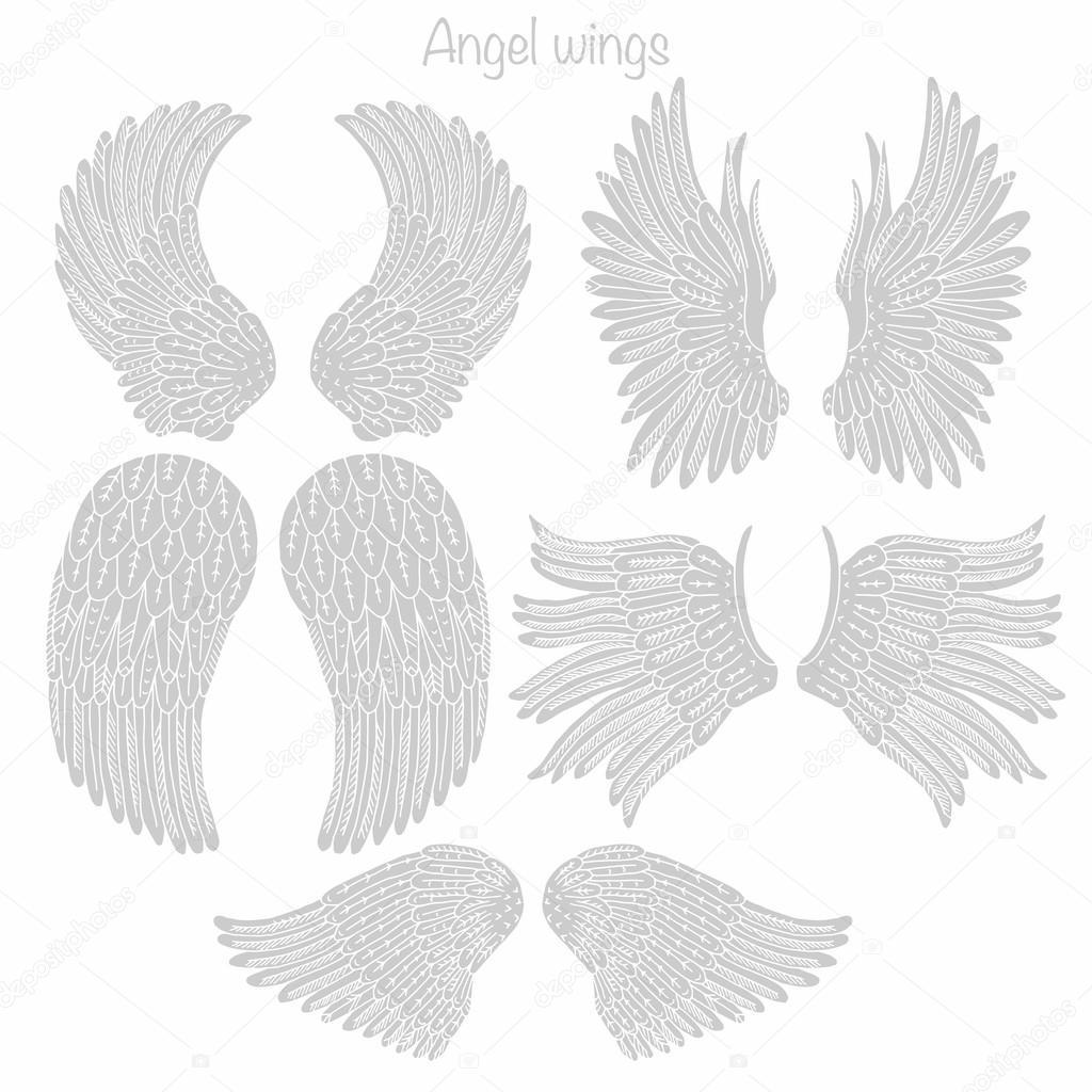 Colección de mano dibujado alas de Ángel — Fotos de Stock © Smirno ...