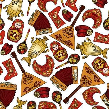 Seamless pattern with russian motifs