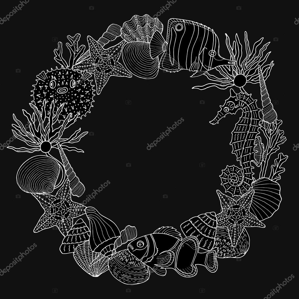 Marco redondo con el patrón de mar profundo — Foto de stock © Smirno ...
