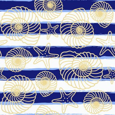 Seamless pattern with sea background