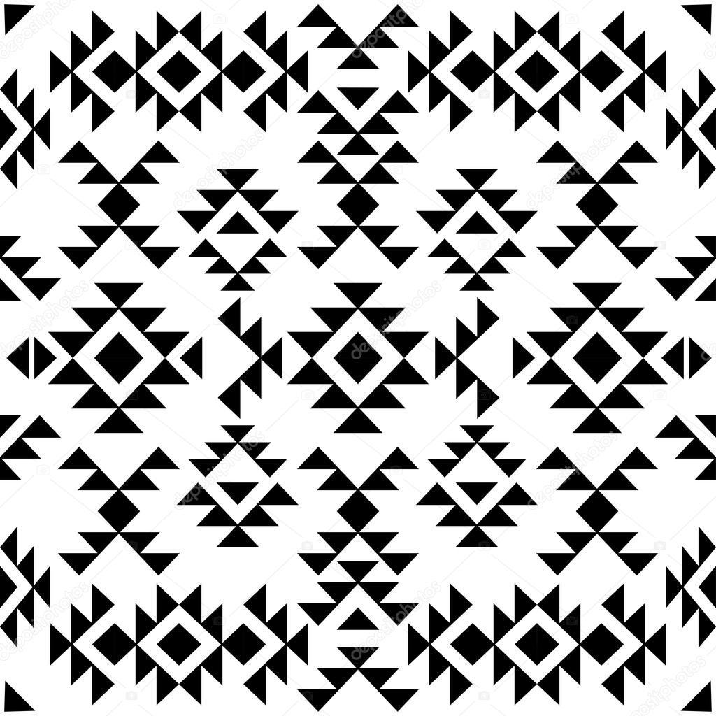 Seamless black and white navajo pattern