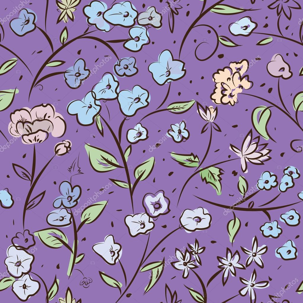 Tiny Spring Flowers Doodle Drawing Pattern Stockvektor