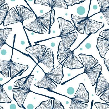 Gingko biloba seamless vector background pattern