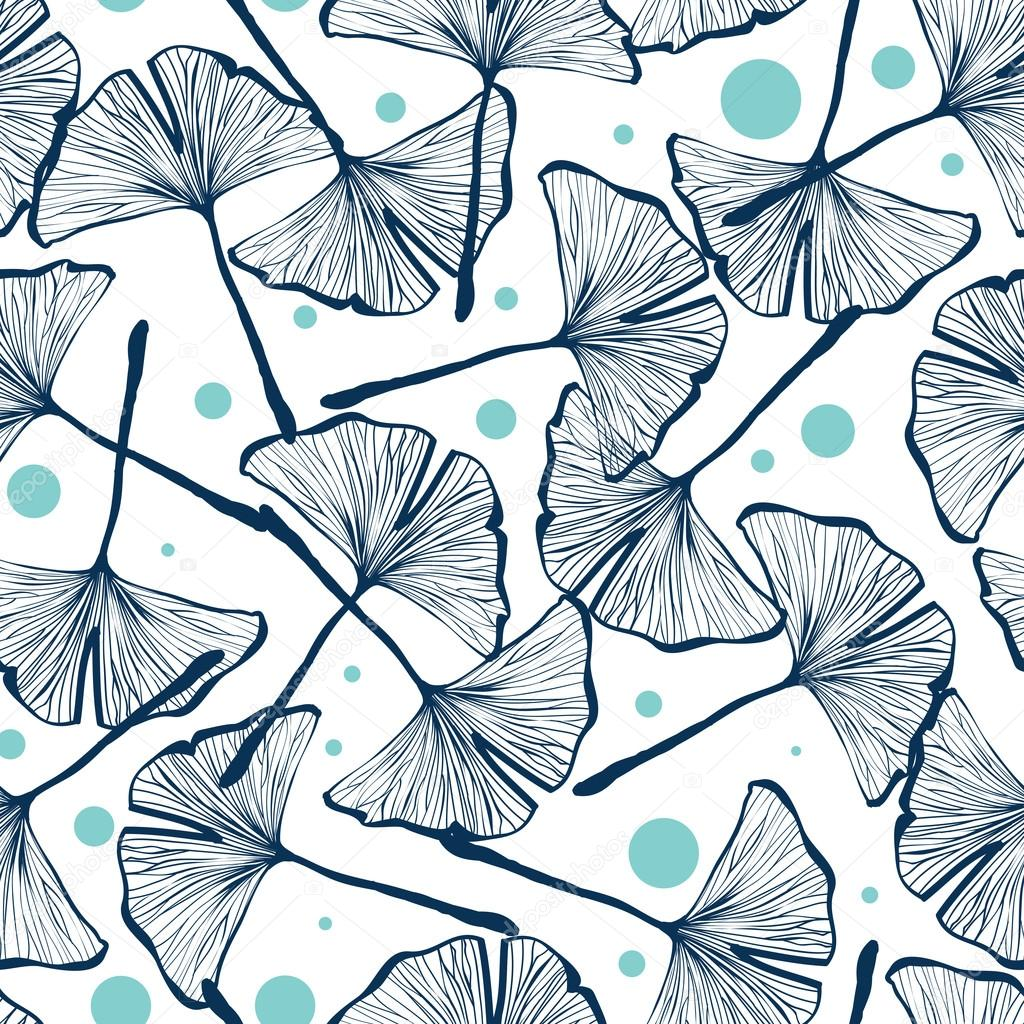 Gingko biloba seamless vector background pattern