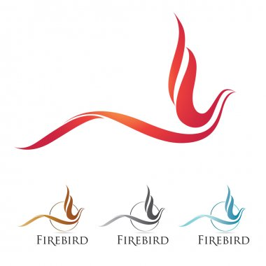 Vector firebird icons with color options