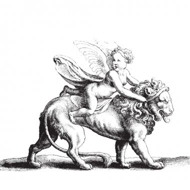 Cupid on a lion