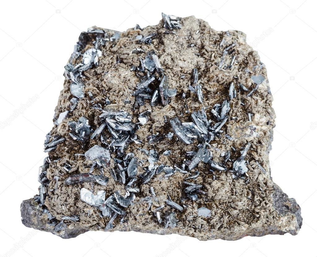 016de10b1de Pedaço de pedra mineral com cristais de magnetita — Fotografia de Stock