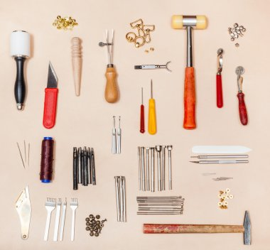 collection various leather crafting tools