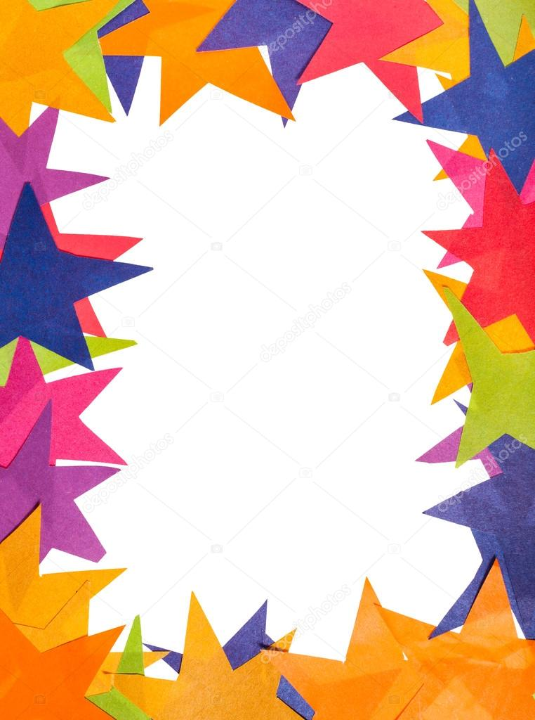 blank space framing by multicolored paper stars stock photo
