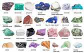Photo set from decorative gems and minerals with names