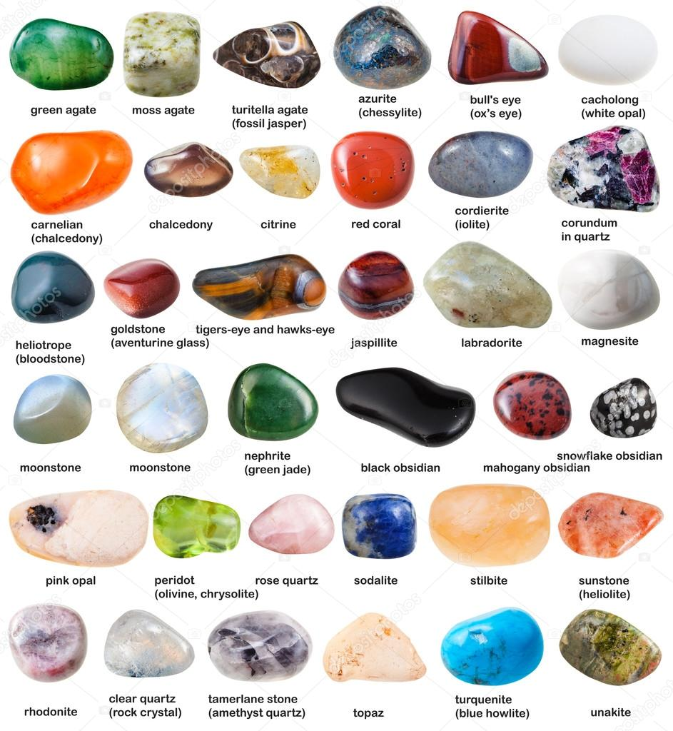 collection of various tumbled gemstones with names — Stock Photo ...