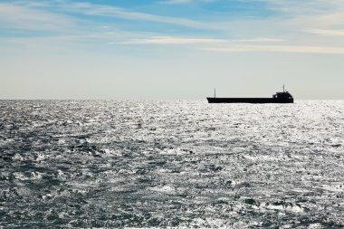 Ship in Black sea in autumn