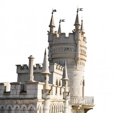 Swallow Nest castle in Crimea isolated on white
