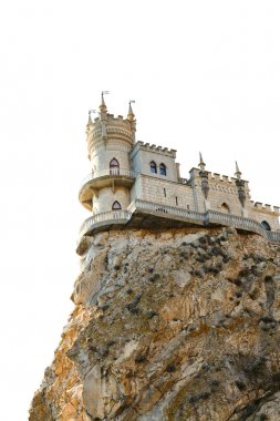 Swallow's Nest castle on rock in Crimea isolated