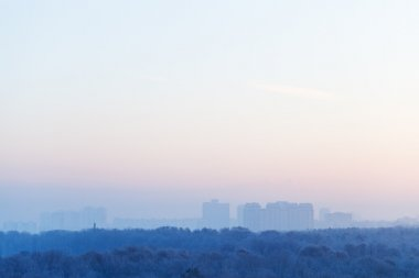 blue and pink sky over city in winter sunrise