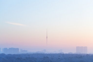 blue pink sky over city and TV tower in sunrise