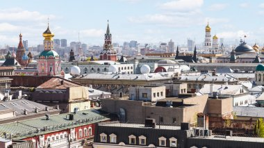 above view of Moscow city center with Kremlin