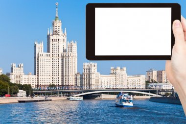 tourist photographs of Moscow cityscape in summer