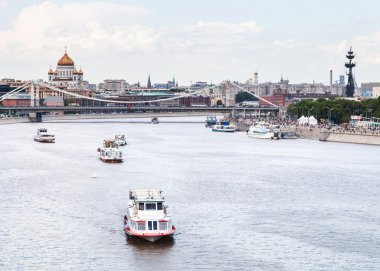 Krymsky Bridge and excursion ships on Moskva River