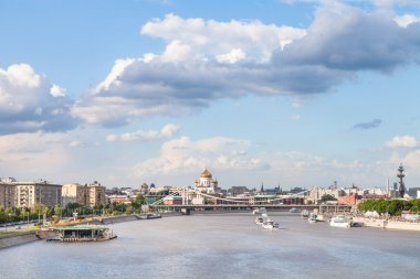 Moscow skyline with Crimean bridge and Catherdral