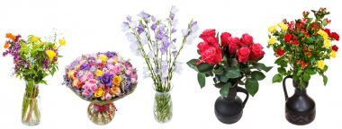 set of bouquets of flowers in vases isolated