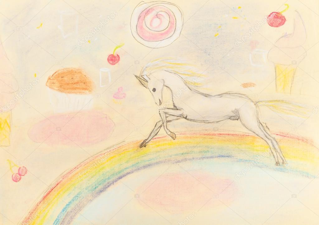 Kinder Zeichnen Fee Einhorn Auf Regenbogen Stockfoto C Vvoennyy
