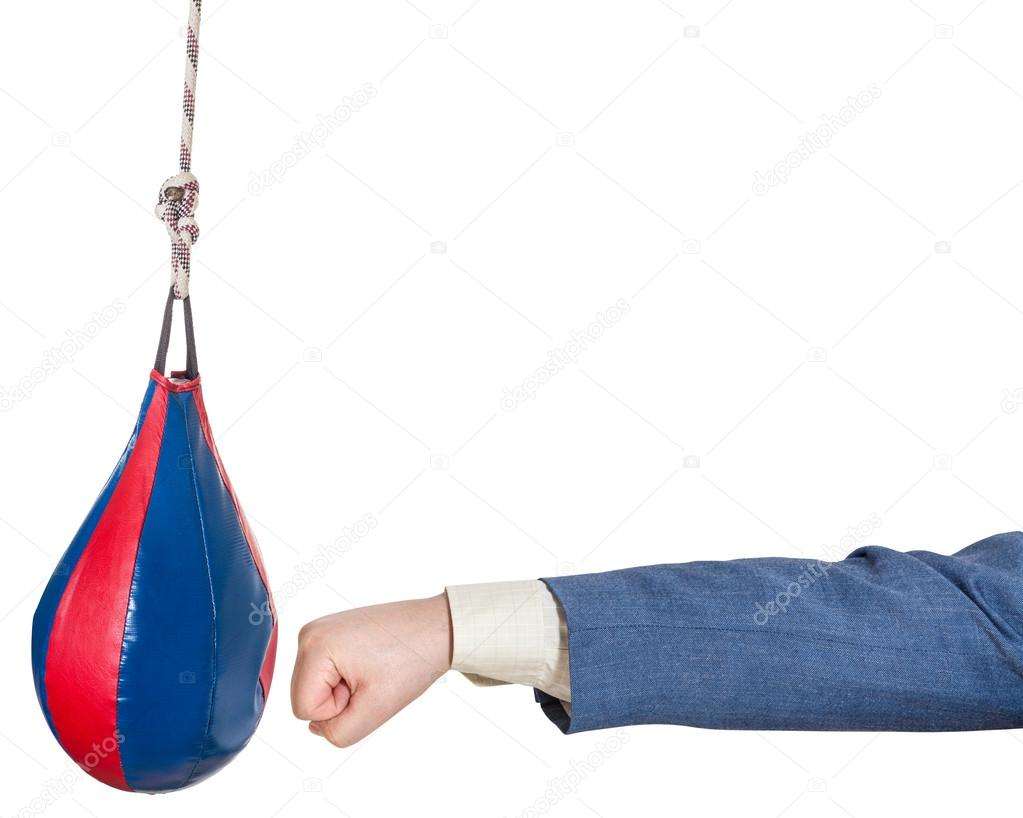 Man In Office Suit Punches Punching Bag Isolated U2014 Stock Photo