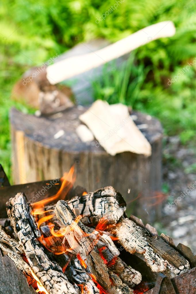 firewood burning in outdoor brazier close up
