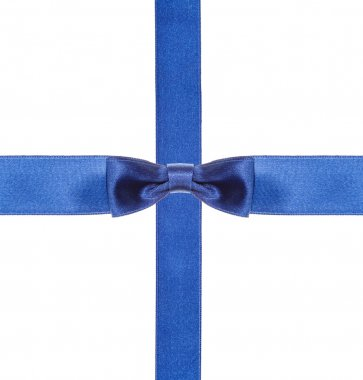 blue satin bows and ribbons isolated - set 12