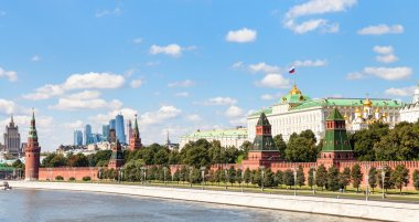 panoramic view Moskva River, Kremlin, Moscow City
