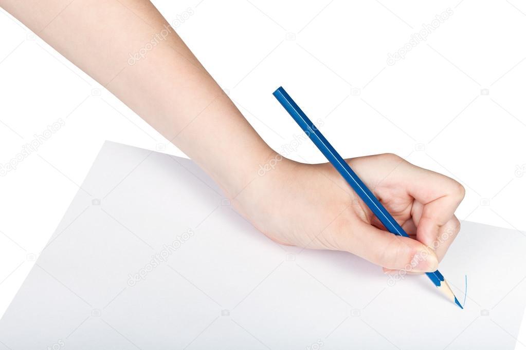 Hand-Farben von blauen Bleistift auf Blatt Papier — Stockfoto ...