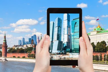 Picture of Moscow City towers on tablet pc
