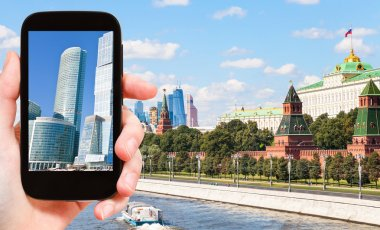 Picture of Moscow City towers on smartphone