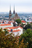 Photo above view of Brno city with Cathedral