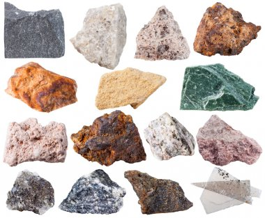 set of 15 mineral stones isolated